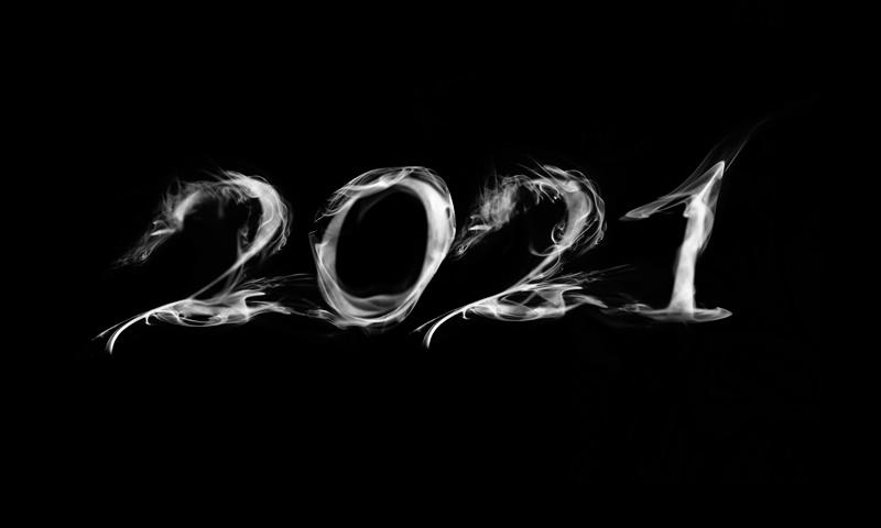 2021 feito com fumaça para simbolizar tendências do cigarro eletrônico nesse ano
