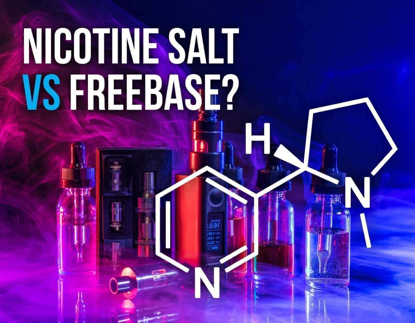 Essências diante de um fundo azul e a fórmula química da nicotina composição dos juices