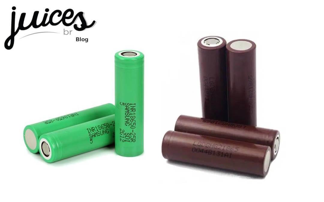 Duas das melhores baterias para vape e logo blog JuicesBr
