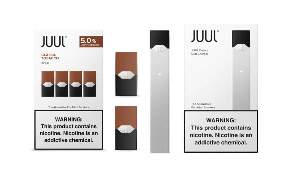 Juul descartável, aparelho e sabor classic tobacco